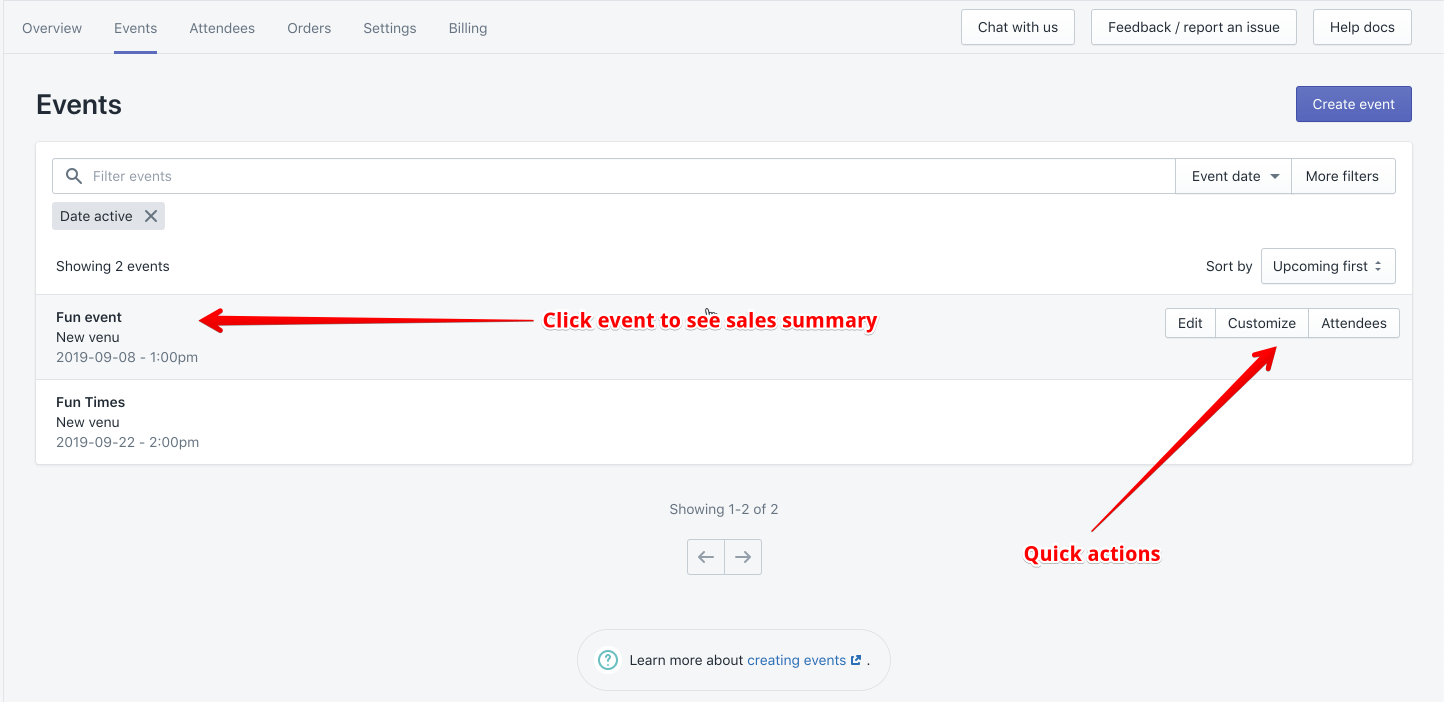 shopify events